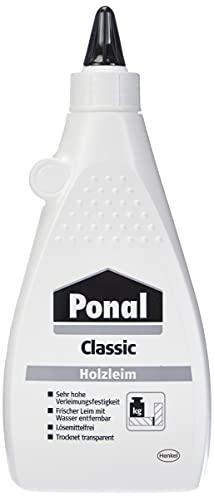 Ponal Classic, gebrauchsfertiger Holzleim mit hoher Verleimungsfestigkeit, Holzkleber für Montage-, Flächen- & Fugenverleimungen, transparenter Bastelleim, 1x550g