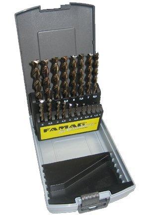 FAMAG Holzspiralbohrersatz 19-teilig D=1-10mm (steigend um 0,5mm) in Rose-Box