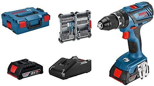 Bosch Professional 18V System Akku Schlagbohrschrauber GSB 18V-28 (max. Drehmoment: 63 Nm, inkl. 35tlg. Impact Zubehör-Set, 2x 2,0 Ah Akku, Ladegerät GAL 18V-40, in L-BOXX 136) - Amazon Exclusive Set