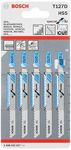 Bosch Professional 5x Stichsägeblatt T 127 D Special for Alu (für Aluminiumrohre & -profile, Zubehör Stichsäge)