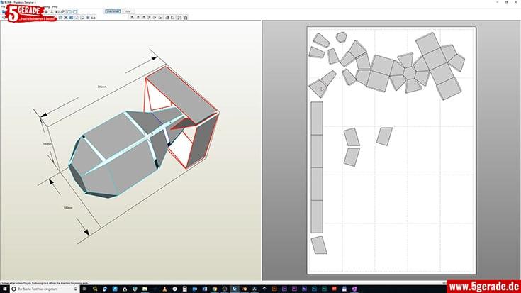 Das 3D Mesh wurde einfach mit Pepakura abgewickelt