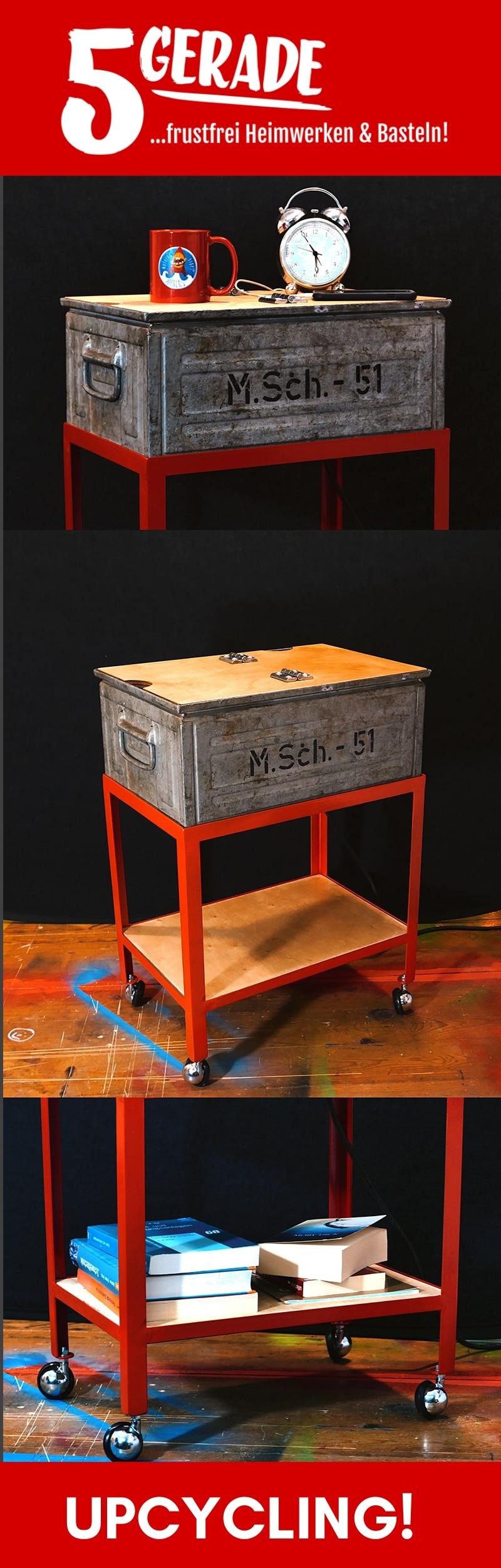 DIY Möbel Upcycling Projekt; Nachttisch im Werkstatt-Look / industrial design.