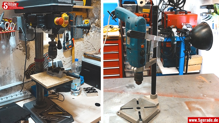 Tisch-Bohrmaschinen oder Bohrständer wären optimal zum Bohren in Blech.