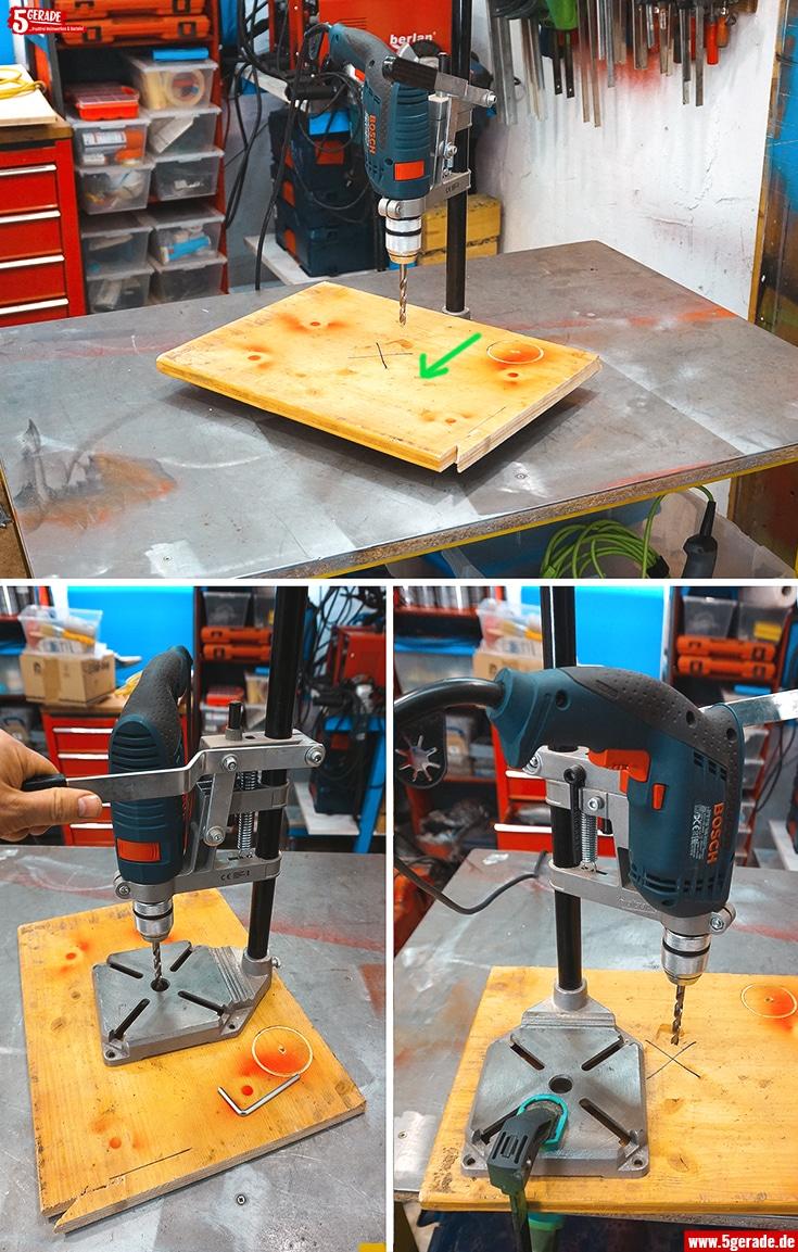 Große Werkstücke lassen sich mit einem mobilen oder leichten Bohrständer einfach bearbeiten. Einfach den Ständer auf das Werkstück stellen.