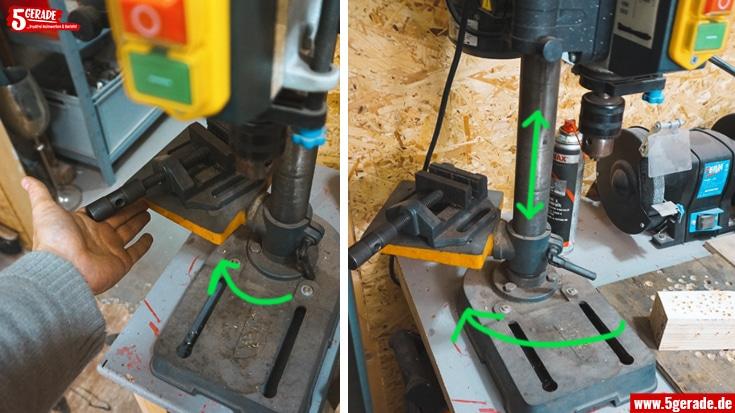 Der Bohrtisch von Tischbohrmaschinen lässt sich schwenken und in der Höhe verstellen