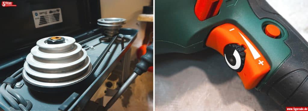 Drehzahl einstellen Tischbohrmaschine mit Riemenantrieb vs. Bohrmaschine