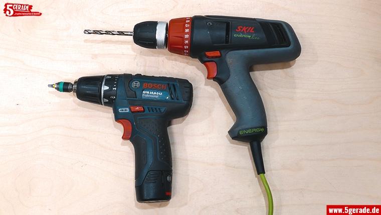 Bohrmaschinen-Arten: Bohrschrauber mit Akku oder kabelgebunden